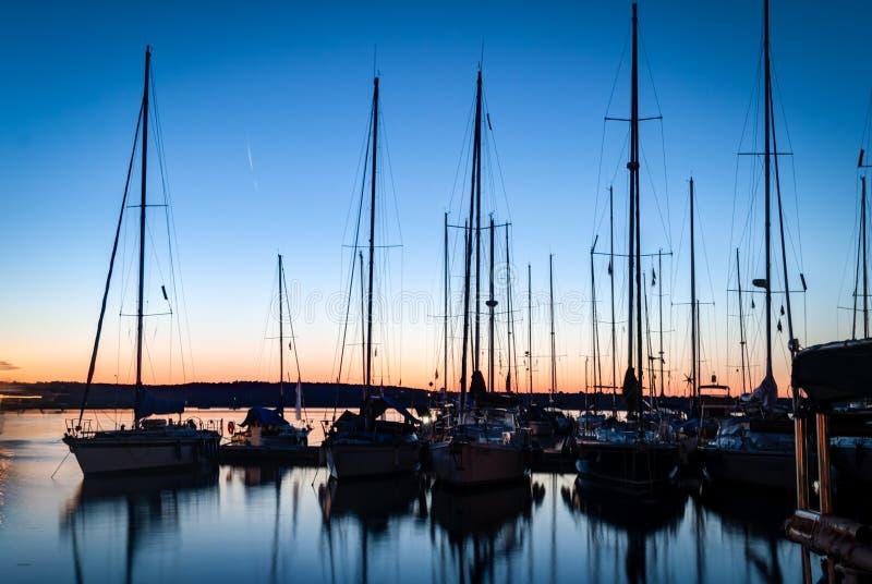 Sailboats. In the harbor at night-Pula,Croatia royalty free stock image