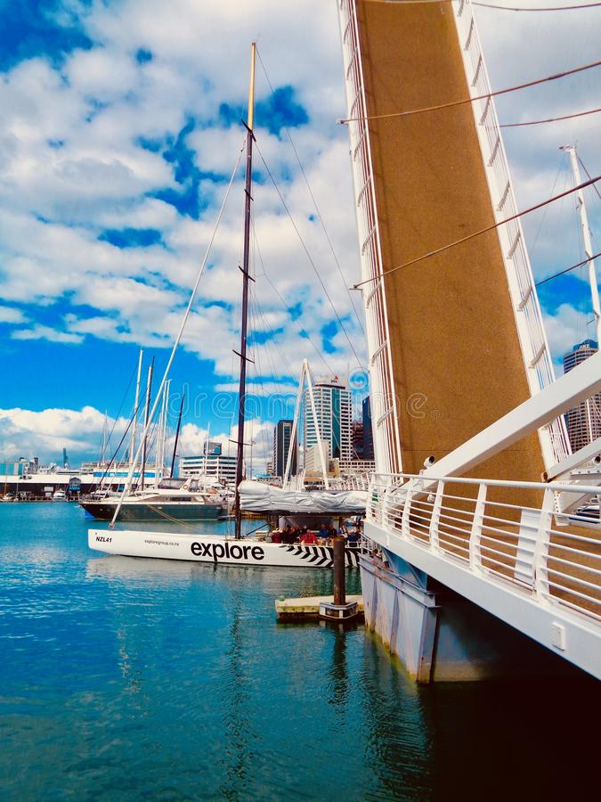 Sailboats in Auckland harbor stock image