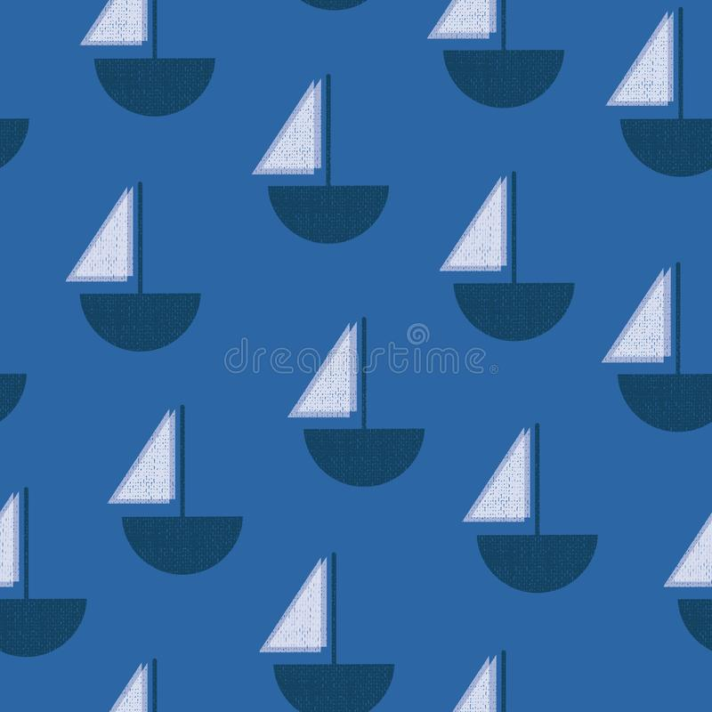 Sailboats blue and white seamless vector pattern. Vintage Screen print texture boats. Contemporary Art Deco background vector illustration