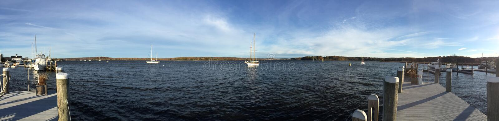 Sailboats in Connecticut harbor royalty free stock images