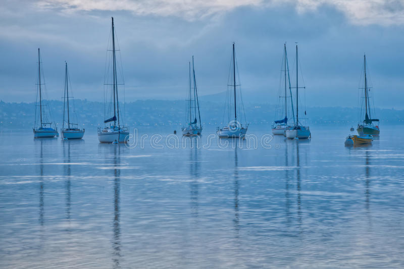 Download Sailboats at Dawn stock image. Image of nature, sail - 23124673