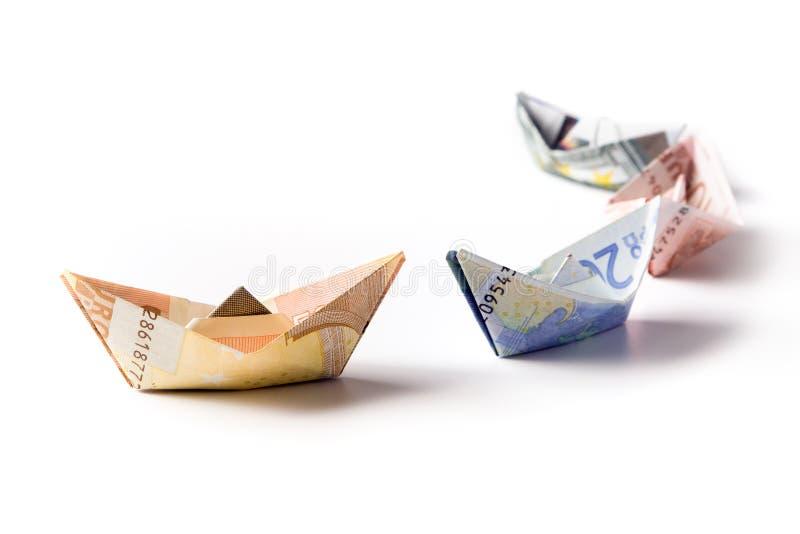 Sailboats europeus da moeda fotos de stock