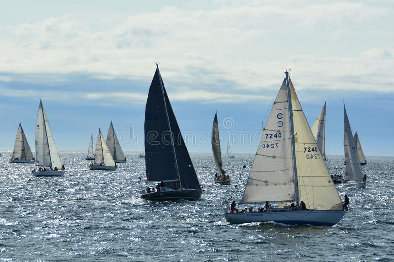 Sailboats getting ready for the start of the race. The annual Swiftsure yacht race takes place in Victoria,B.C.on Vancouver Island. Here the yachts line up at stock photo