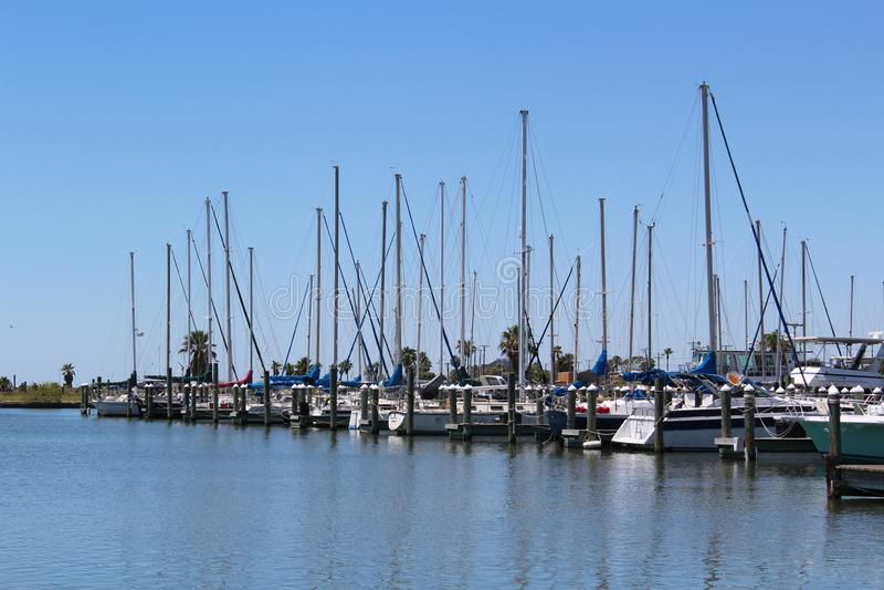 Sailboats in Harbor Gulf Coast Texas stock photo