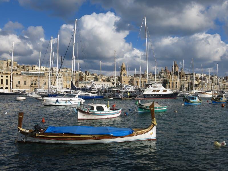 Sailboats in harbor, La Valetta, Malta stock image