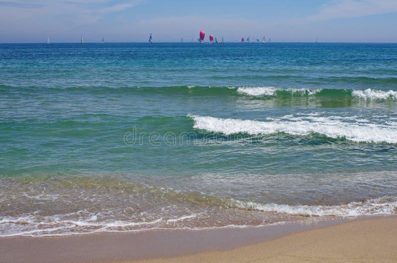 Seascape. Summer, sea, sun, beach, holiday, fun. Sailboats on the horizon - Black Sea, landmark attraction in Romania royalty free stock photo