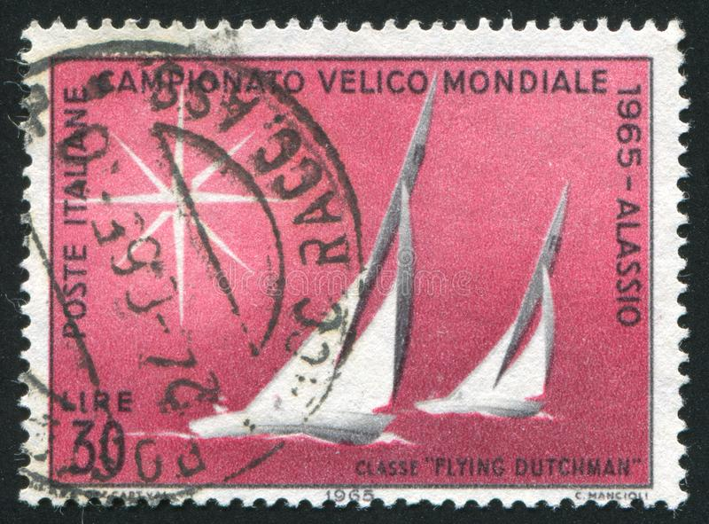 Sailboats. ITALY - CIRCA 1965: stamp printed by Italy, shows Sailboats of Flying Dutchman Class, circa 1965 royalty free stock photo