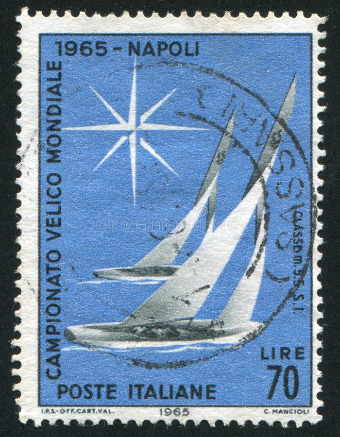 Sailboats. ITALY - CIRCA 1965: stamp printed by Italy, shows Sailboats of Flying Dutchman Class, circa 1965 stock photos