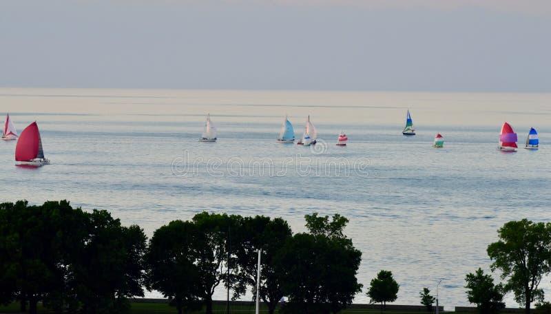Sailboats on Lake Michigan #4 stock image