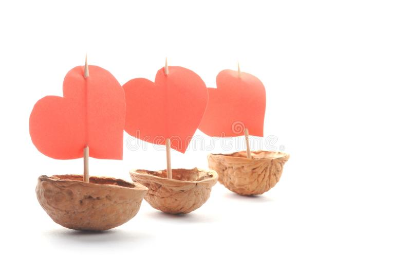 Sailboats made of walnut stock photography