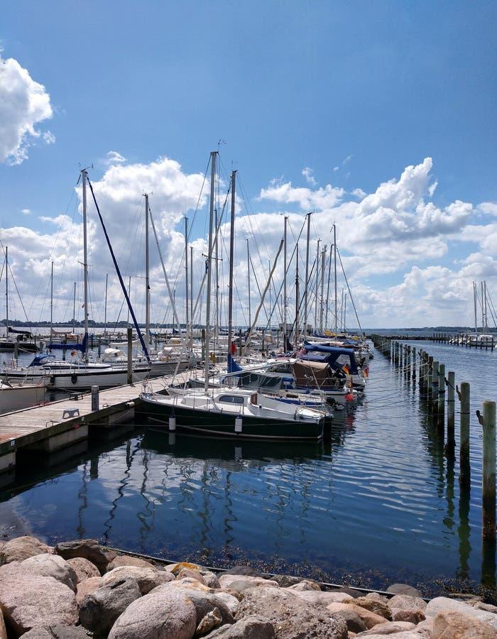 Sailboats in Egernsund marina on the Flensburg Fjord in southern Denmark stock photo