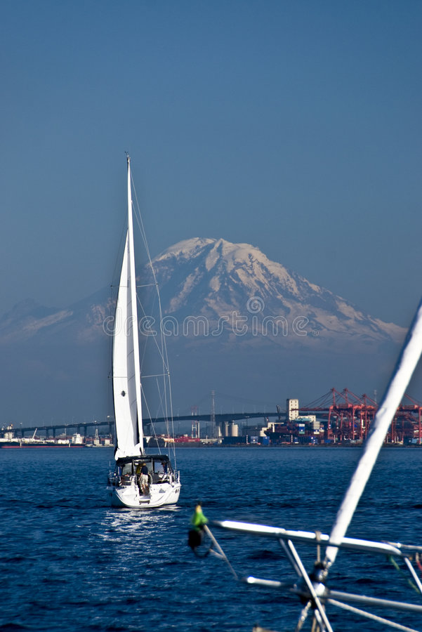 Sailboats and mountain royalty free stock photography