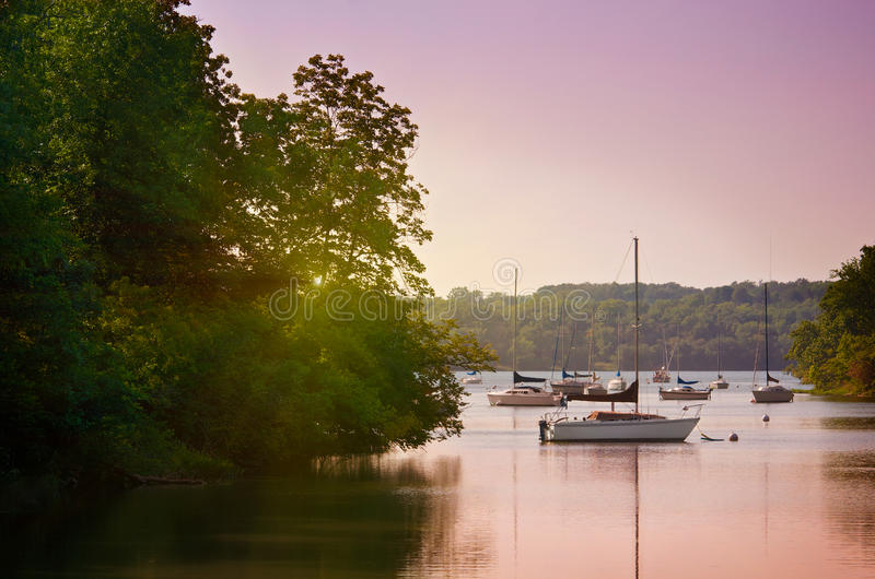 Sailboats no lago no por do sol foto de stock