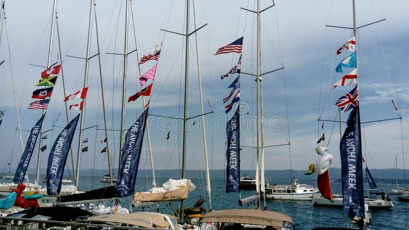 Sailboats in the port of Bol, island of Brac, Croatia royalty free stock photography