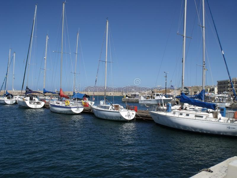 Sailboats in the port stock photo
