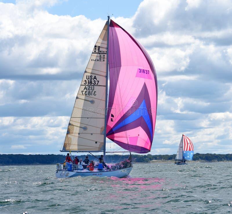 Sailboats racing on Lake Michigan. Sail boats with colorful spinnakers in a sailing race on Lake Michigan stock photo