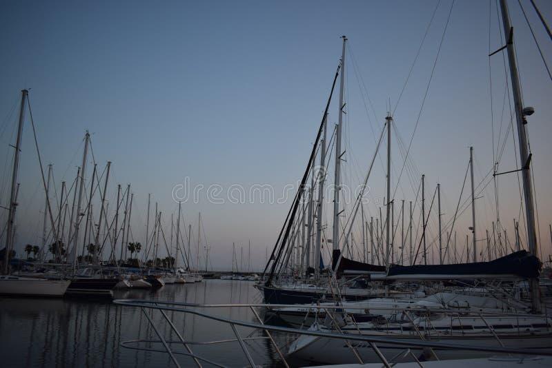 Sailboats in real nautical club of Valencia Spain stock photos