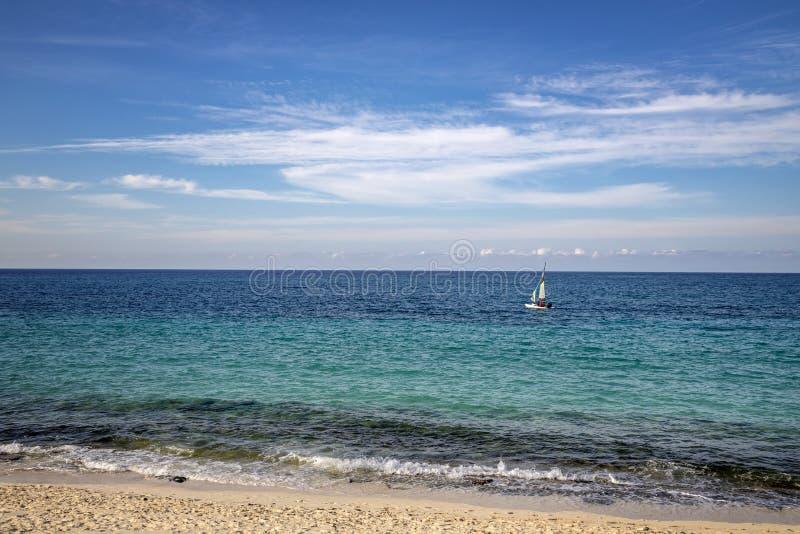 Sailboats sailing along the Atlantic coast stock photo