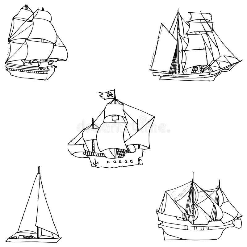 sailboats Schizzo a mano Disegno a matita a mano Immagine di vettore L'immagine è linee sottili illustrazione vettoriale