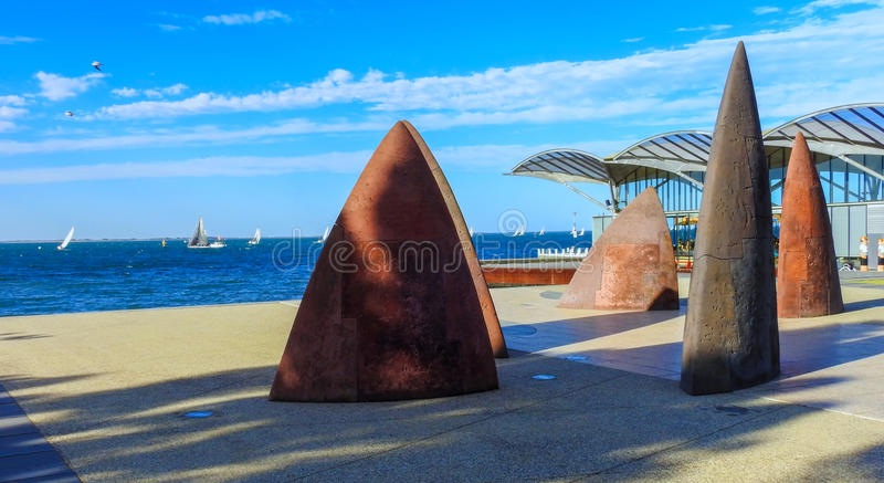 Sailboats and sculptures. In Geelong, Victoria, Australia royalty free stock photos