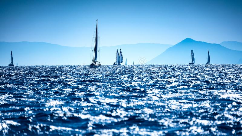 Sailboats in the sea royalty free stock photo