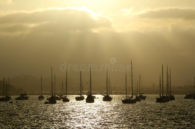Sail Boats Silhouette in San Diego royalty free stock photography