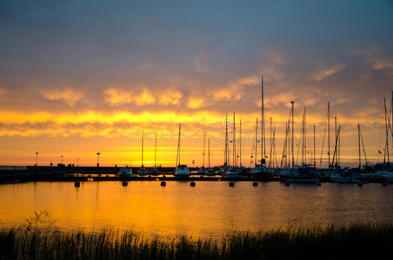 Download Sailboats in sunset stock photo. Image of leisure, nautical - 25599704