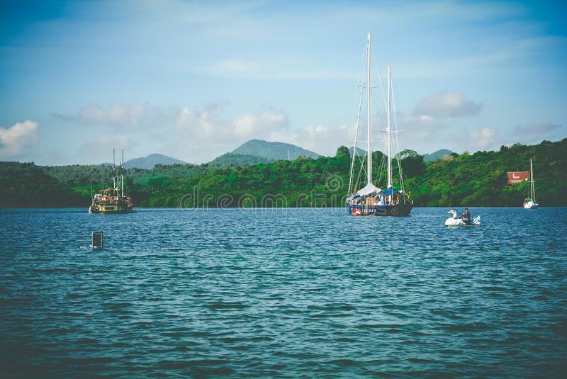 Sailboats in w ater stock photos
