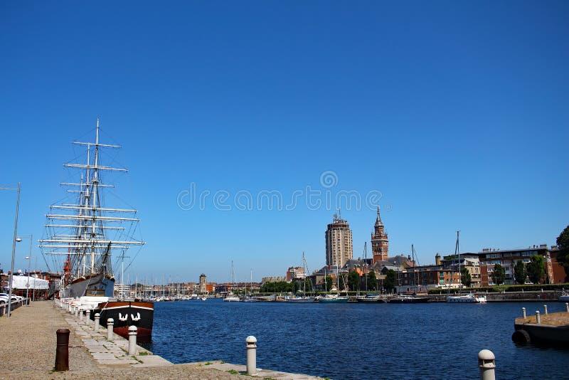 Sailboats and yachts moored at the marina of Dunkirk stock image
