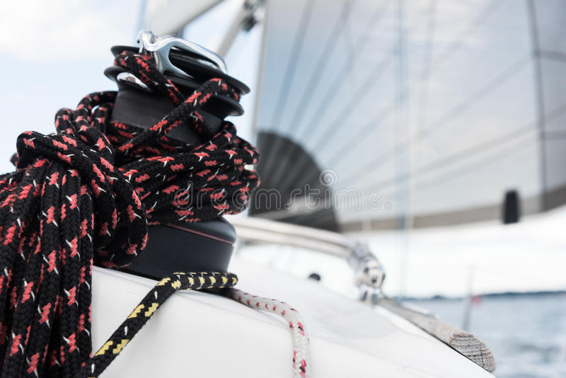 Sailbot winch and ropes royalty free stock image