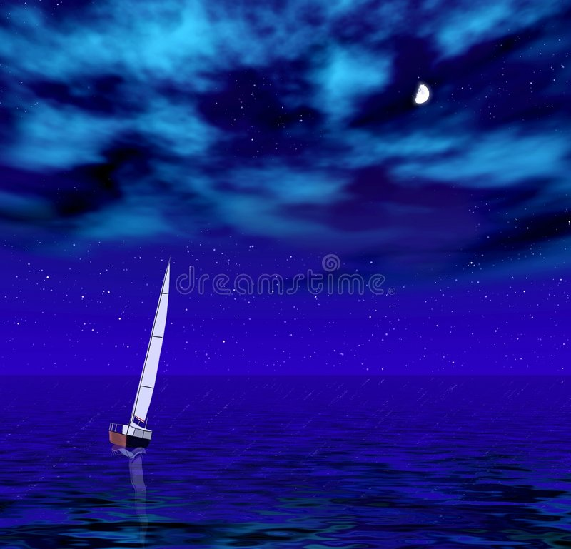 Sailer in the night sea royalty free stock photography