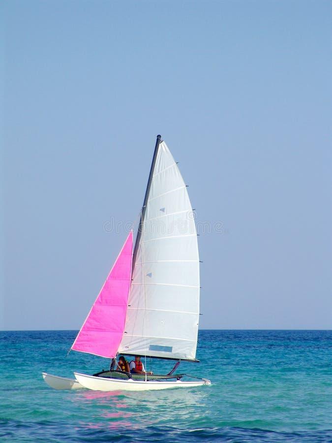 Sailboat in Mediterranean Sea off Tunisia royalty free stock photos