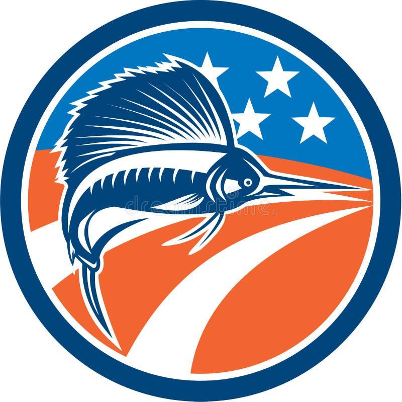 Sailfish πηδώντας κύκλος αμερικανικών σημαιών ψαριών αναδρομικός απεικόνιση αποθεμάτων