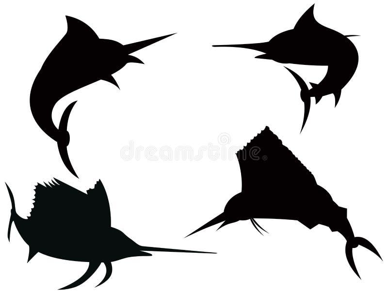 sailfish för blå marlin vektor illustrationer