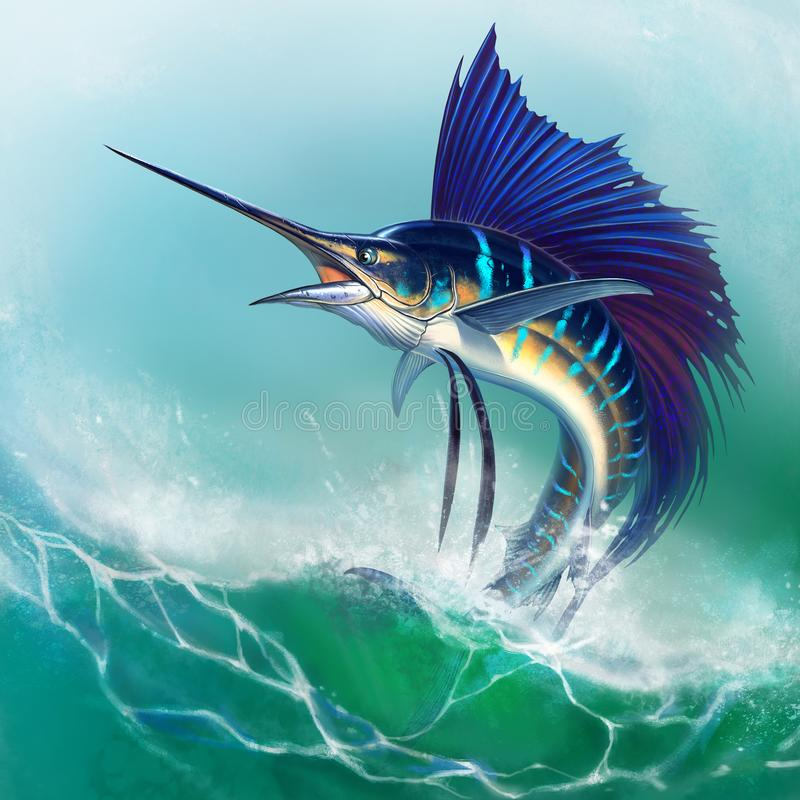 Sailfish fish on white. Striped big marlin. Sports fishing in the open sea. Big fish royalty free illustration