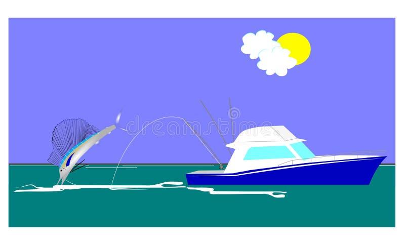 Sailfish fishing vector illustration