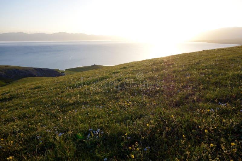 Sailimu sjö på soluppgång royaltyfri foto
