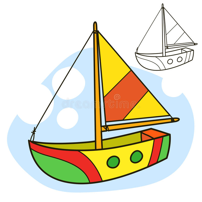 sailing логотипа иллюстрации готовый для использования сосуда вектора Страница книжка-раскраски иллюстрация вектора