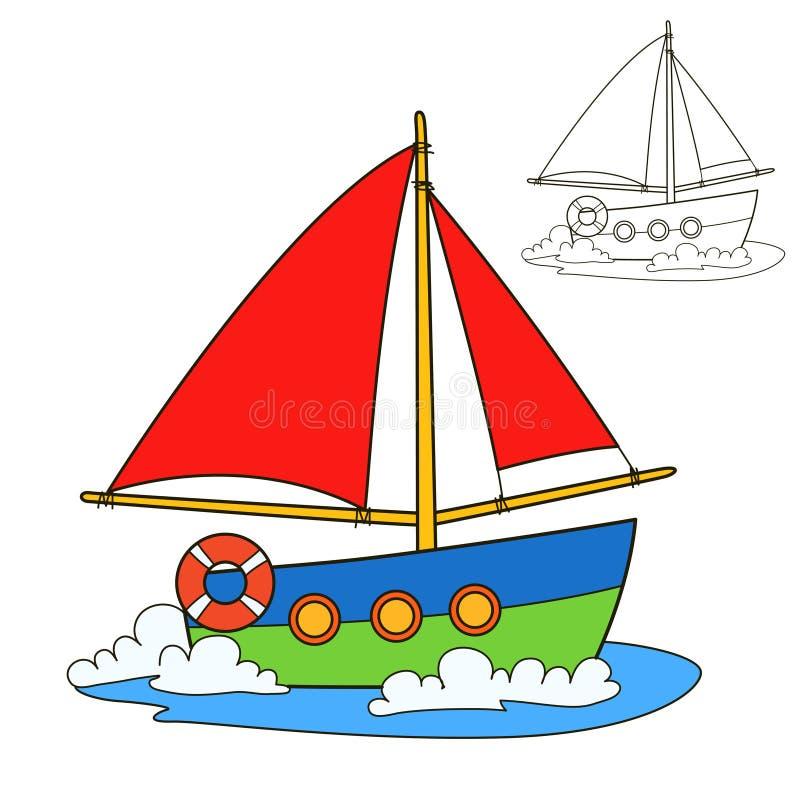 sailing логотипа иллюстрации готовый для использования сосуда вектора Страница книжка-раскраски иллюстрация штока