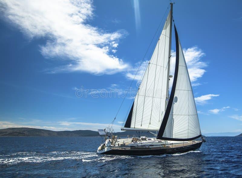 sailing Шлюпка в регате плавания Строки роскошных яхт на доке Марины стоковые изображения rf