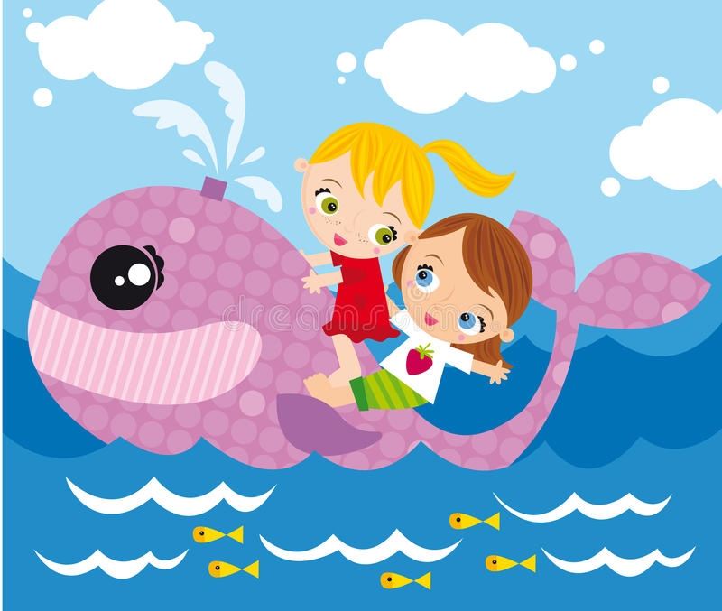 Sailing. Illustration of two girls sailing on the whale