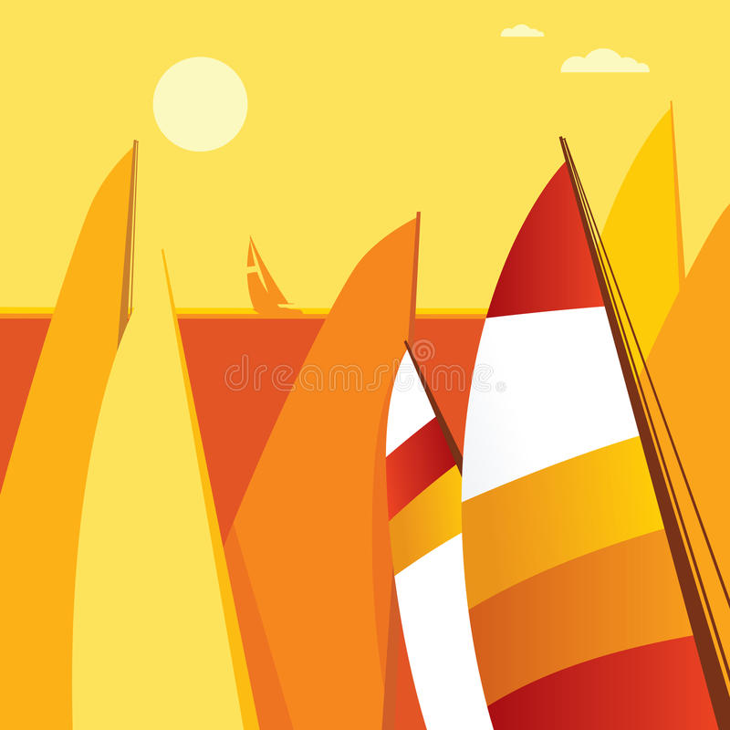 Sailing. Colored sail and solar birth stock illustration