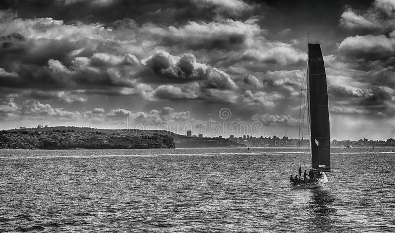 Black and white photo of sailing boat royalty free stock photo