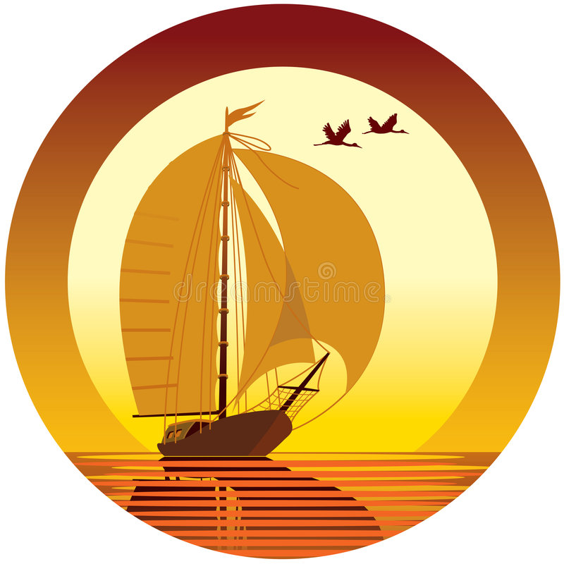 Sailing. Vacation: ship, sunset and flying birds vector illustration