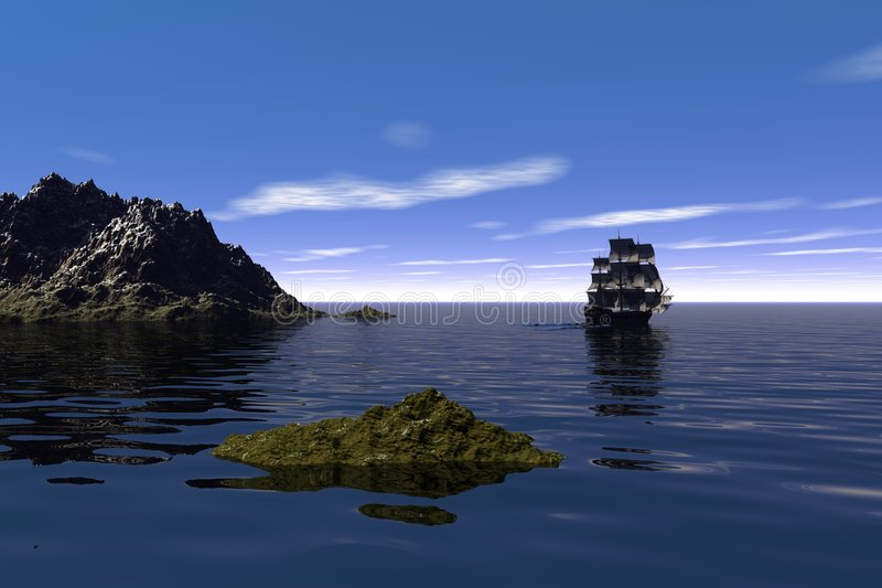 Sailing By. A ship sails by a headland on a calm blue ocean stock illustration
