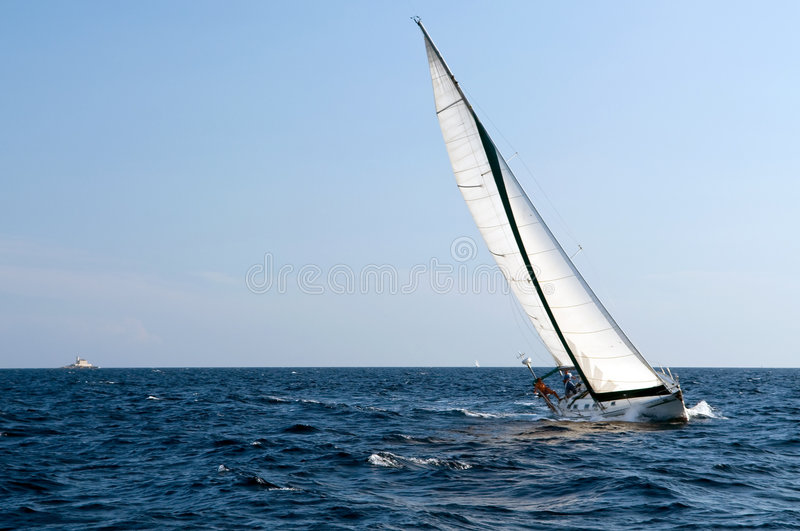 Sailing. On yacht in the Adriatic sea royalty free stock image