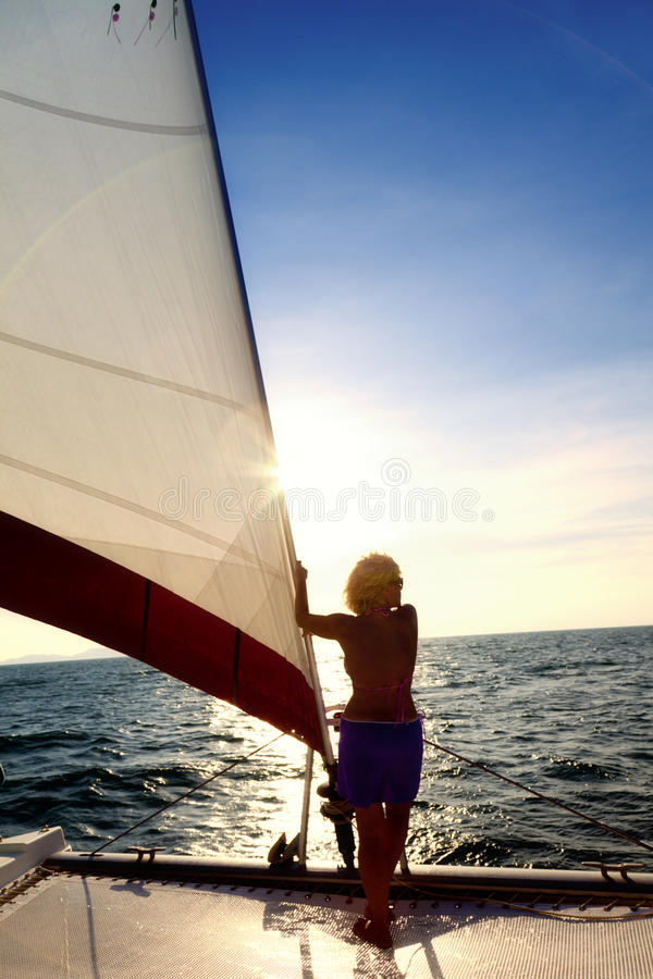 Download Sailing adventure stock photo. Image of blue, yacht, woman - 24855558