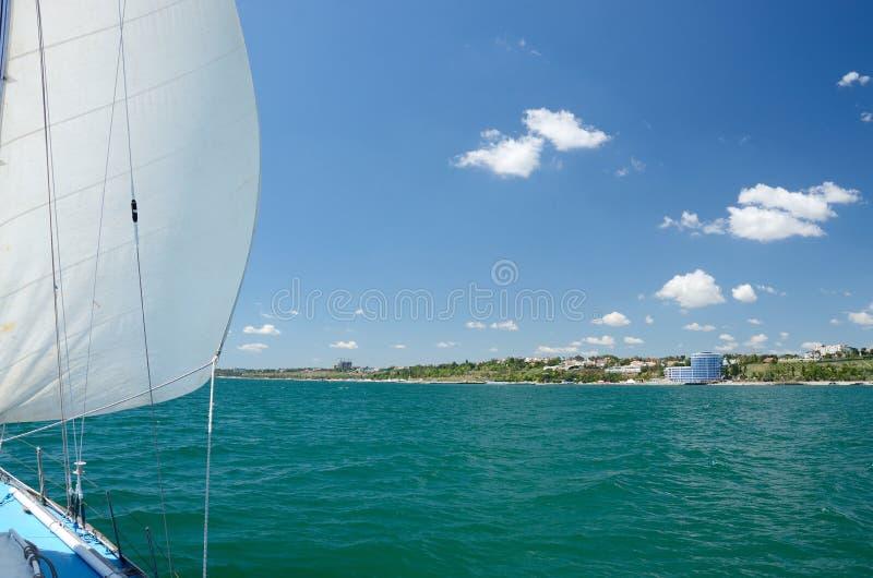 Sailing along sea coast of Odessa,importaint ukrainian port stock photography