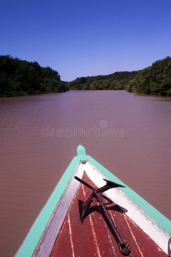 Sailing in the Amazon river stock photo