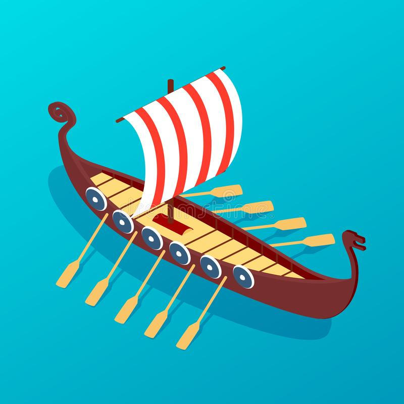 Sailing ancient wooden ship with oars. Military warship sea travel. vector illustration